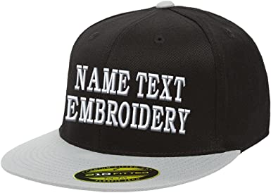 Custom Embroidered Flexfit 110F Structured Flat Bill Snapback Your Design Here Personalized Image /& Text
