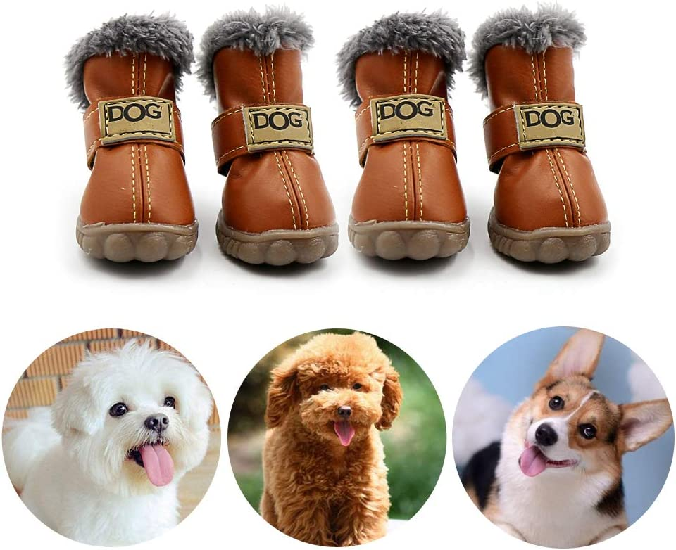 XS, Black Warm Booties for Puppy Play CMNNQ Snow Small Dog Boots Pet Antiskid Dog Shoes Winter Waterproof Skidproof Paw Protectors
