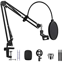 "Microphone Arm Stand Desk Suspension Boom Scissor Arm Stand Professional Adjustable Mic Stand with Pop Filter, 3/8"" to 5…"