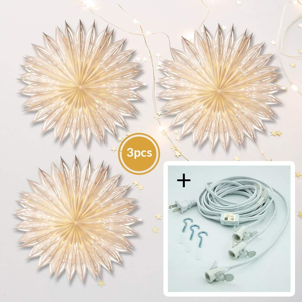 Luna Bazaar White Girasole Pizzelle Designer Paper Star Lanterns and Lighting - for Home Decor, Parties, and Holiday Decorations
