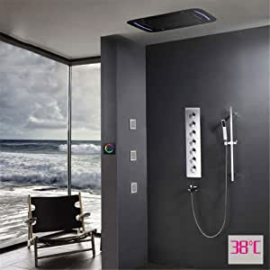 WZZJ Oculto termostato Ducha Panel Espejo con 38x71CM LED de Techo Cabezal de Ducha de Lluvia Niebla Buble Columna Cascada canalón: Amazon.es: Hogar