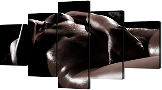 Amazon Com Erotic Naked Girl Body Paint Canvas For Couples 5 Piece Sexy Nude Woman Print Wall Art Paintings Pictures For Party Living Room Home Decor Gallery Wrapped Artwork Framed Ready To Hang 60 Wx32 H