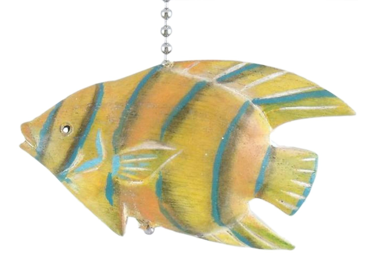 MTI Tropical Hand Carved Yellow Angel Fish Three Dimensional Wooden Ceiling Fan Pull
