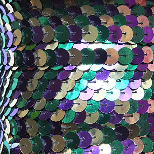 Mardi Gras Sequin Trim - Iron On Sequin Trim ~ Purple Green Gold Mardi Gras Metallic ~ 8mm round flat by the yard. Costume, arts, crafts, bridal wear, embellishment. 15' per pack. Made in USA