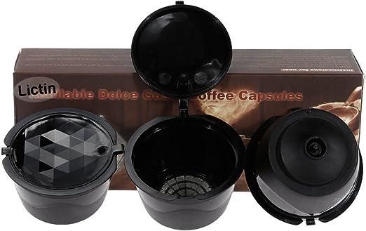 Lictin Version Mejorado Pack de 3 Cápsulas Filtros de café Recargable Reutilizable con Presión Aumendada para cafetera Dolce Gusto Vida útil más de 150 usos sustitucion de cápsula de café Dolce Gusto: