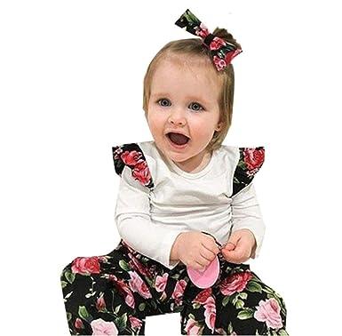 HEHEM Baby Clothes Girl Boy 3pcs Toddler Infant Baby Girls Floral Clothes  Set Tops+Pants 8d31c0f50d2d