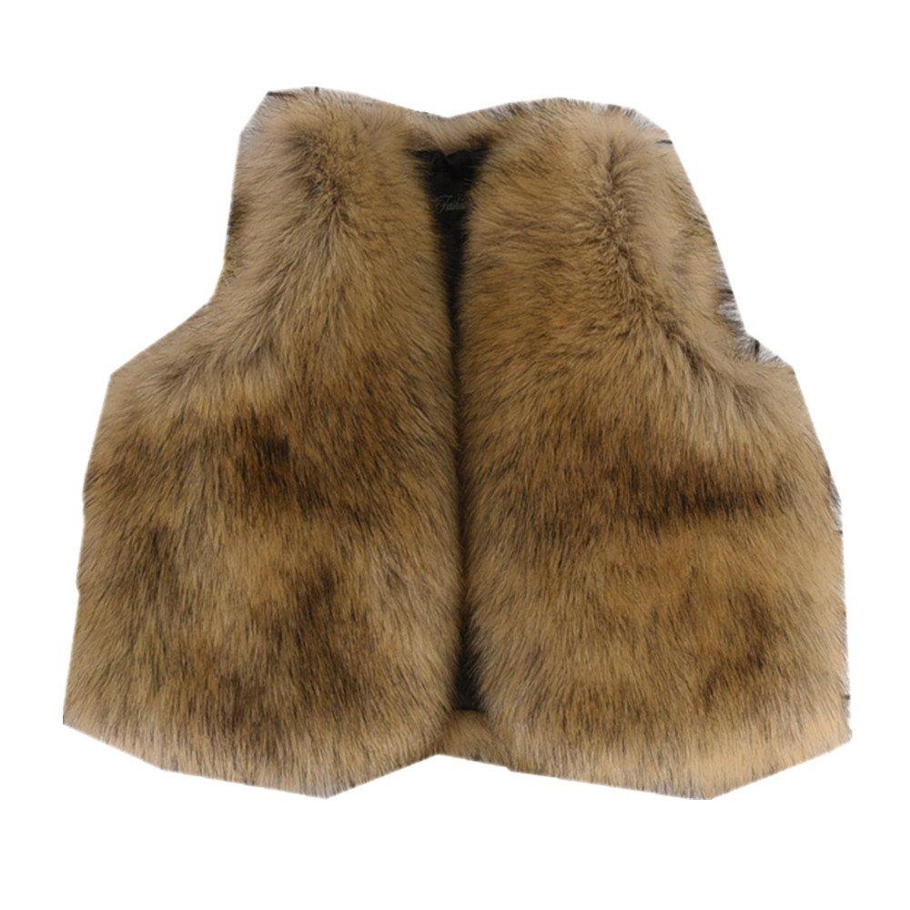 Star Flower Little Big Girls Faux Fur Vest (12, Brown)