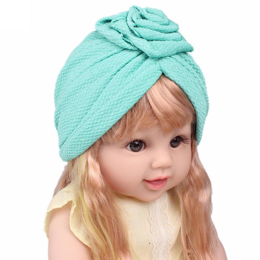 DIGOOD Suit For 3-8 Years Old Kids, Teen Girls Boho Hat Beanie Scarf Turban Head Wrap Cap (Green) by DIGOOD (Image #4)
