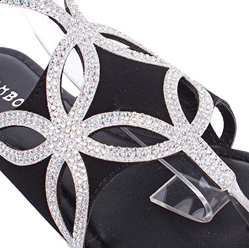 Strass Boucle De Mode Élégant Slip Sur Sangle Réglable Femmes T-string Savdals Casual Flats Chaussures Nouveau Sans Boîte Noir