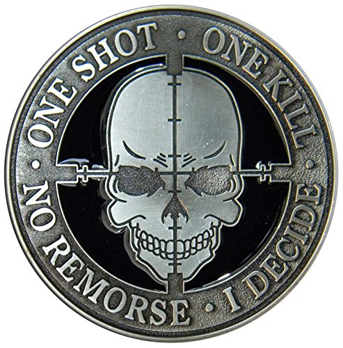 One Shot, One Kill Belt Buckle, Die Cast, Pewter Finish, Sniper