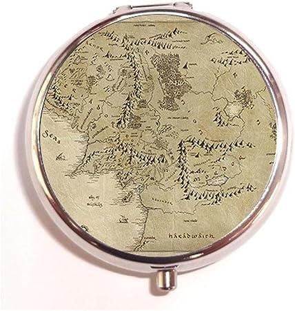 Potter Yaah Pastillero Redondo Personalizado con diseño de Mapa del Señor de los Anillos de la Tierra Media, Caja de Metal Decorativa para contenedores de Drogas o Carteras: Amazon.es: Hogar
