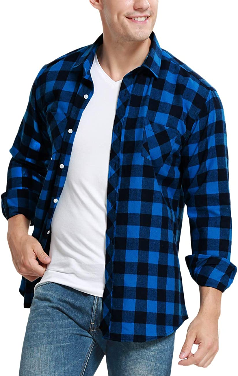 Men/'s Long Sleeve Flannel Casual Luxury Check Print Cotton Work Plaid Shirt Tops