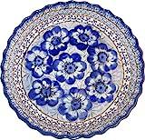 "Polish Pottery Pie Plate or Quiche Baker - Eva's Collection ""Blue Garden"""