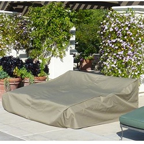 Wicker Double Chaise Lounge - SUNMART Double Chaise Cover Premium Tight Weave - All Weather Protection for Your Patio Furniture - up to 90
