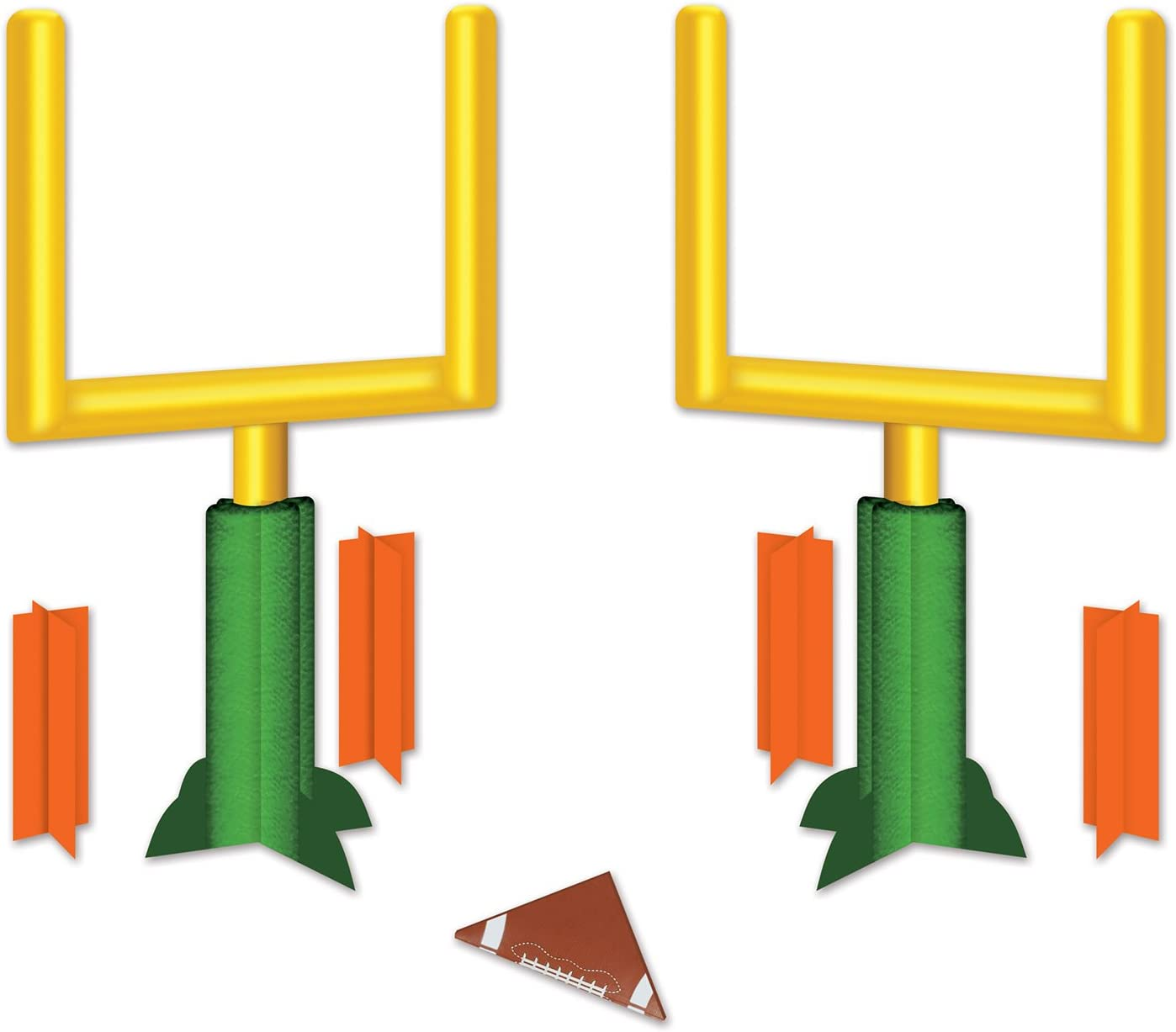 """Beistle Three Dimensional Game Day Goal Post Centerpieces 2 Piece Football Decorations Sports Party Supplies, 11"""", Green/Yellow/Orange/Brown/White"""