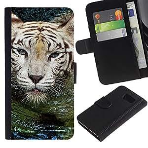LASTONE PHONE CASE / Lujo Billetera de Cuero Caso del tirón Titular de la tarjeta Flip Carcasa Funda para Samsung Galaxy S6 SM-G920 / Tiger Water Cute Nature Swimming Animal