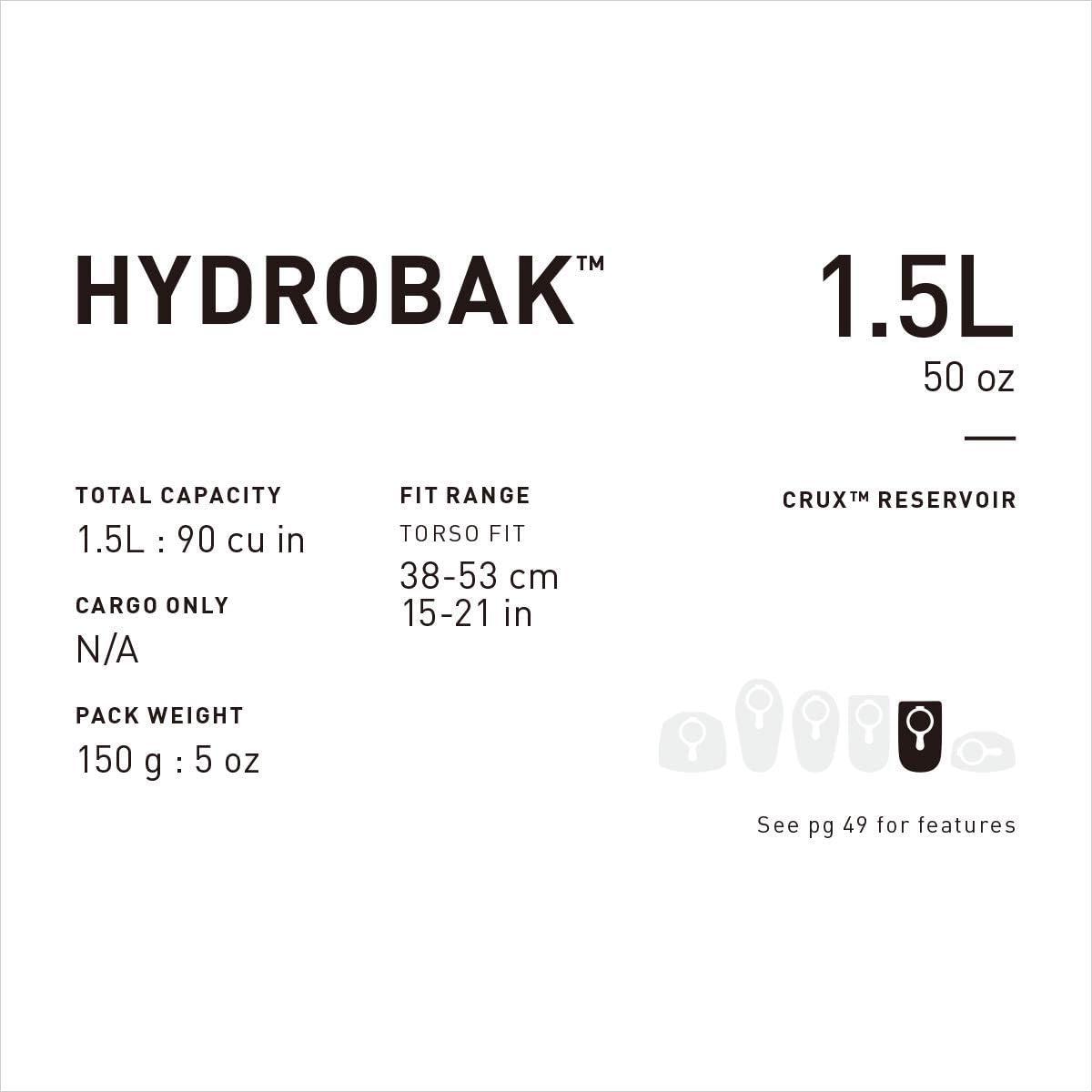CamelBak Hydrobak 2017 Réservoir 1.5 L maille légère hydratation Sac à dos