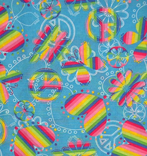 Retro Style Rainbow Peace Signs, Butterflies & Hearts Tossed on Blue Fabric (Peace Sign Fabric)