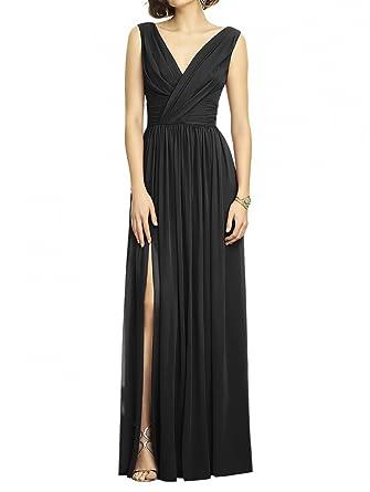 KA Beauty Womens V-neck Long Chiffon Prom Dresses Black UK6