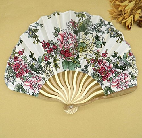 Colorful 30Pcs/Lot Personalized Chinese Japanese Folding Hand Fan Fabric Floral Wedding Party Supplies by Hand Fan