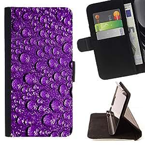 For Samsung Galaxy S3 III i9300 i747 Case , Gotitas de agua púrpura reflexivo gotas de lluvia- la tarjeta de Crédito Slots PU Funda de cuero Monedero caso cubierta de piel