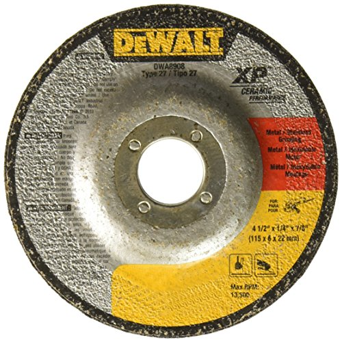 DEWALT DWA8908 Extended Performance Ceramic Metal Grinding 4-1/2-Inch x 1/4-Inch x 7/8-Inch Ceramic Abrasive