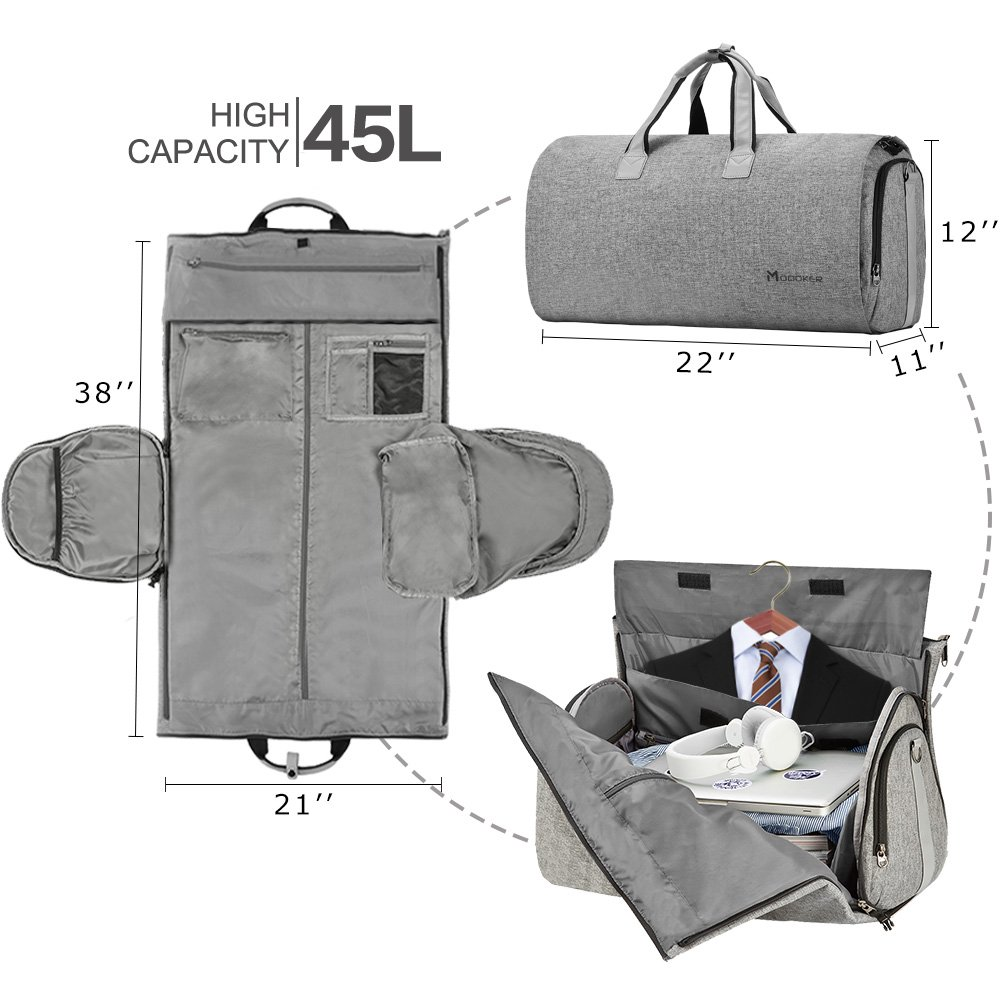 Convertible Garment Bag with Shoulder Strap, Modoker Carry on Garment Duffel Bag for Men Women – 2 in 1 Hanging Suitcase Suit Travel Bags