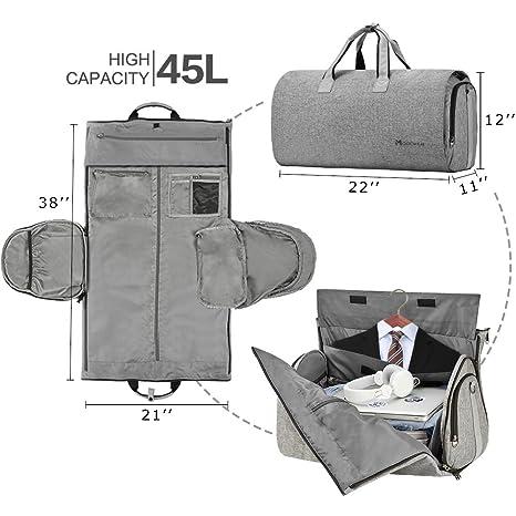 20c40de6fa65 Amazon.com | Convertible Garment Bag with Shoulder Strap, Modoker Carry on Garment  Duffel Bag for Men Women - 2 in 1 Hanging Suitcase Suit Travel Bags ...
