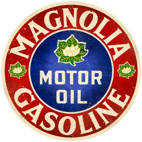 Round Metal Vintage Signs Magnolia Oil And Gasoline