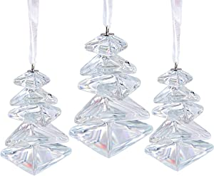 HDCRYSTALGIFTS Christmas Tree Hanging Crystal Figurine Glass Holiday Ornament Christmas Trees Decoration Accessories Party Decor Gift(Pack of 3)
