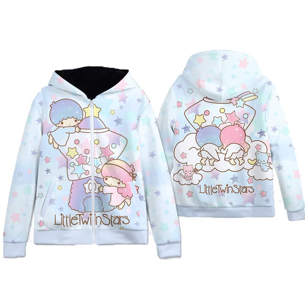 YOURNELO Girls Cartoon Little Twin Stars Zip-Up Thick Hoodie Pullover Sweatshirt Jumper