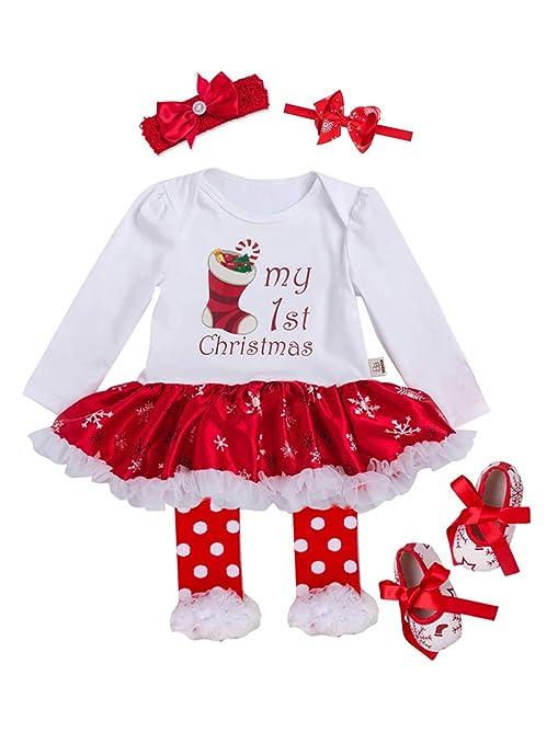 58c3fba0cdd02 URBEAR Bébé Fille Noël Coton à Manches Longues Vêtement de Baptême Robe  Ensemble 5 pc Chaussette
