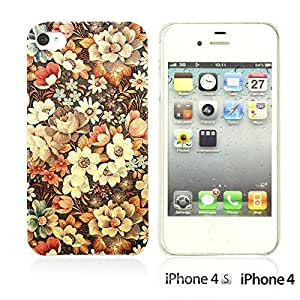 OnlineBestDigital - Flower Pattern Hardback Case for Apple iPhone 4S / Apple iPhone 4 - Retro Flower