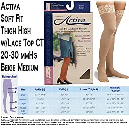 Activa 20-30 mmHg Soft Fit Thigh High with Lace Top Socks, Barely Beige, Medium