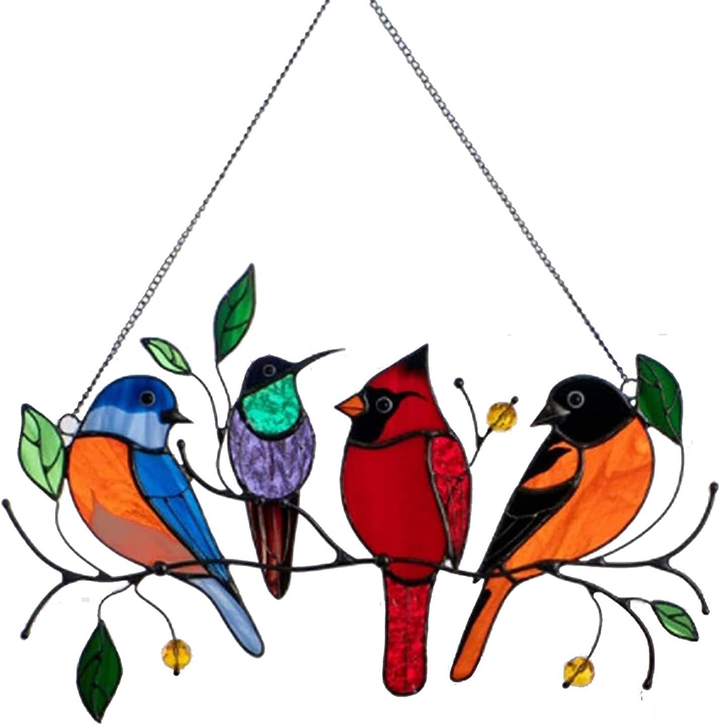 Multicolor Birds On-A-Wire, Metal Suncatcher Window Panel, Bird Series Art Ornaments Pendant Hanging for Windows or Doors Home Decoration, Gifts for Bird Lovers (4 Birds)