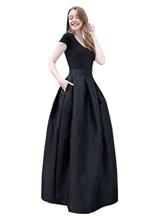 34dd02282 TOPJIN Match Long A Line High Waist Pleated Evening Formal Party/Casual  Skirt: Amazon.co.uk: Clothing