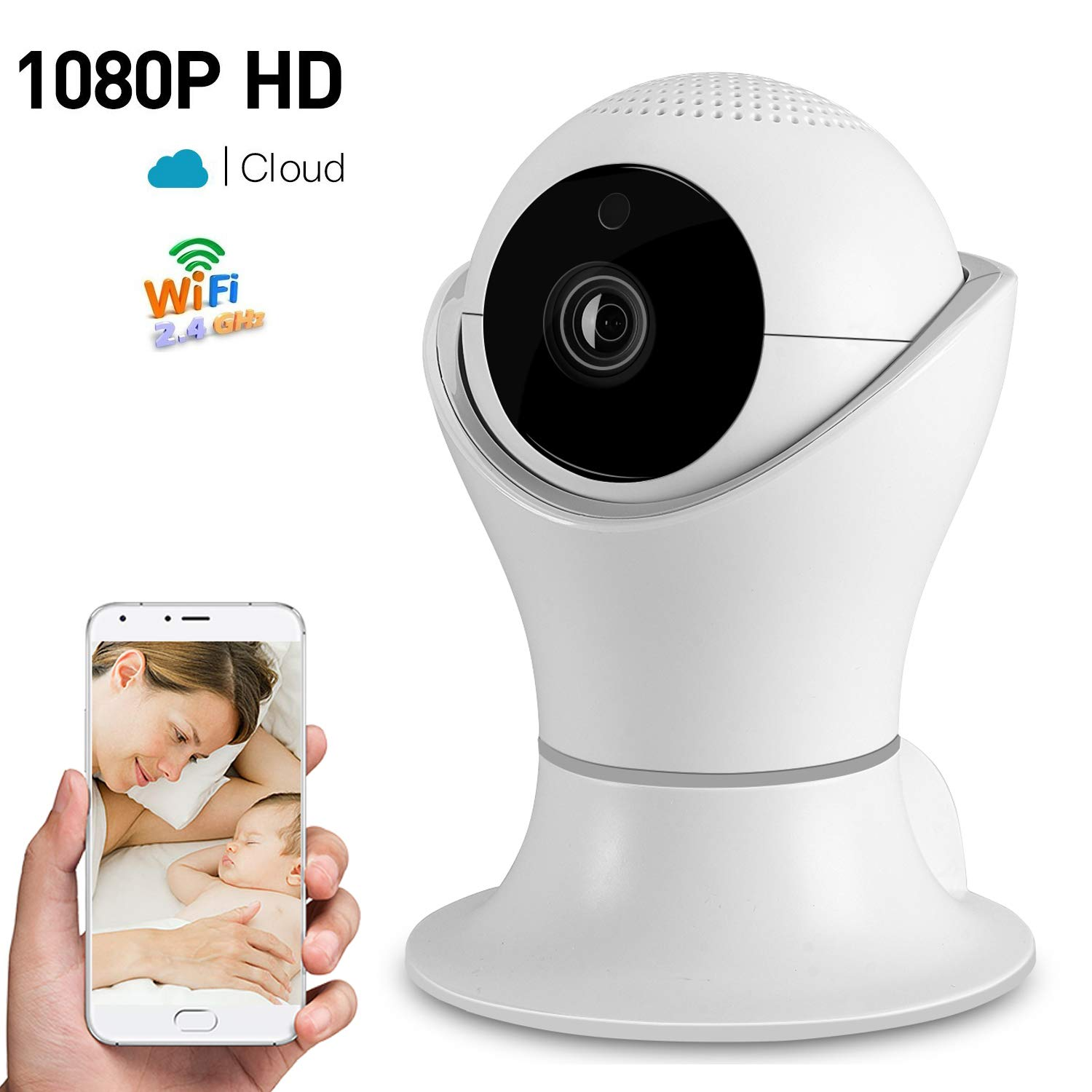 1080P Wireless Home Security IP Camera 360° Wifi Indoor Video Surveillance System Network Baby Monitor for Puppy Nanny Cloud Cam Night Vision Motion Detector Pan Tilt with 2 Way Audio APP Dome Webcam