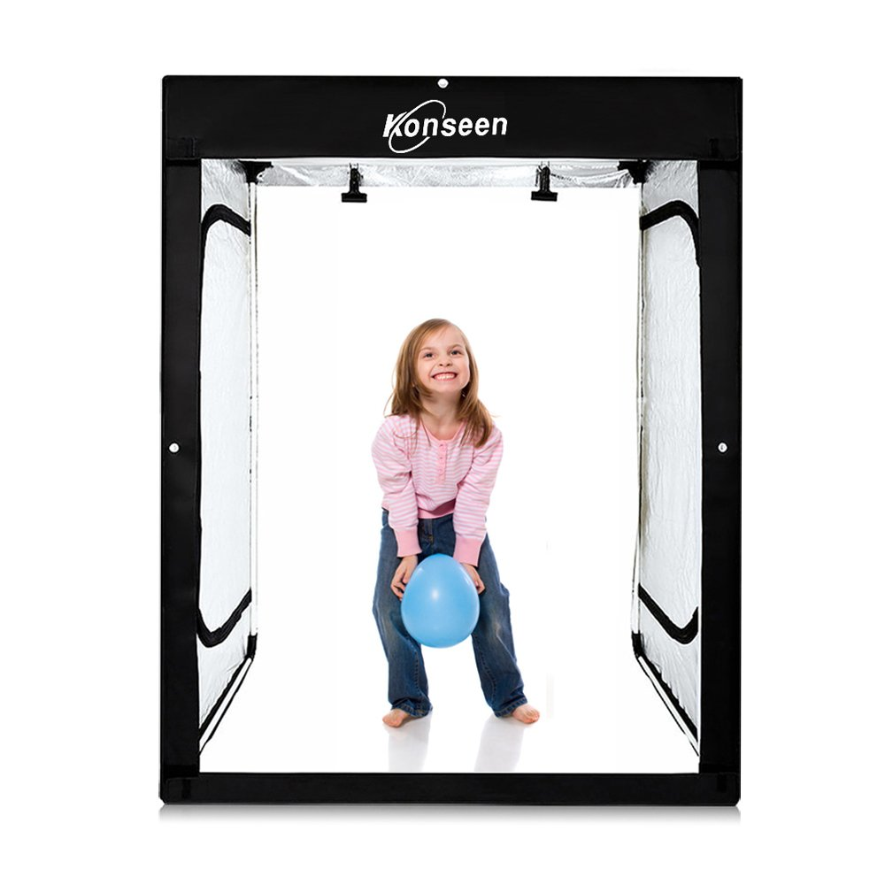 47''x32''x63'' Dimmable LED Large Cube Shooting Tents Box for Professional Photography Studio Lightbox Kits Photo Video Continuous Lighting Shoot Tent Softbox with 3 Colors PVC Backdgrounds in Carry Bag by Konseen