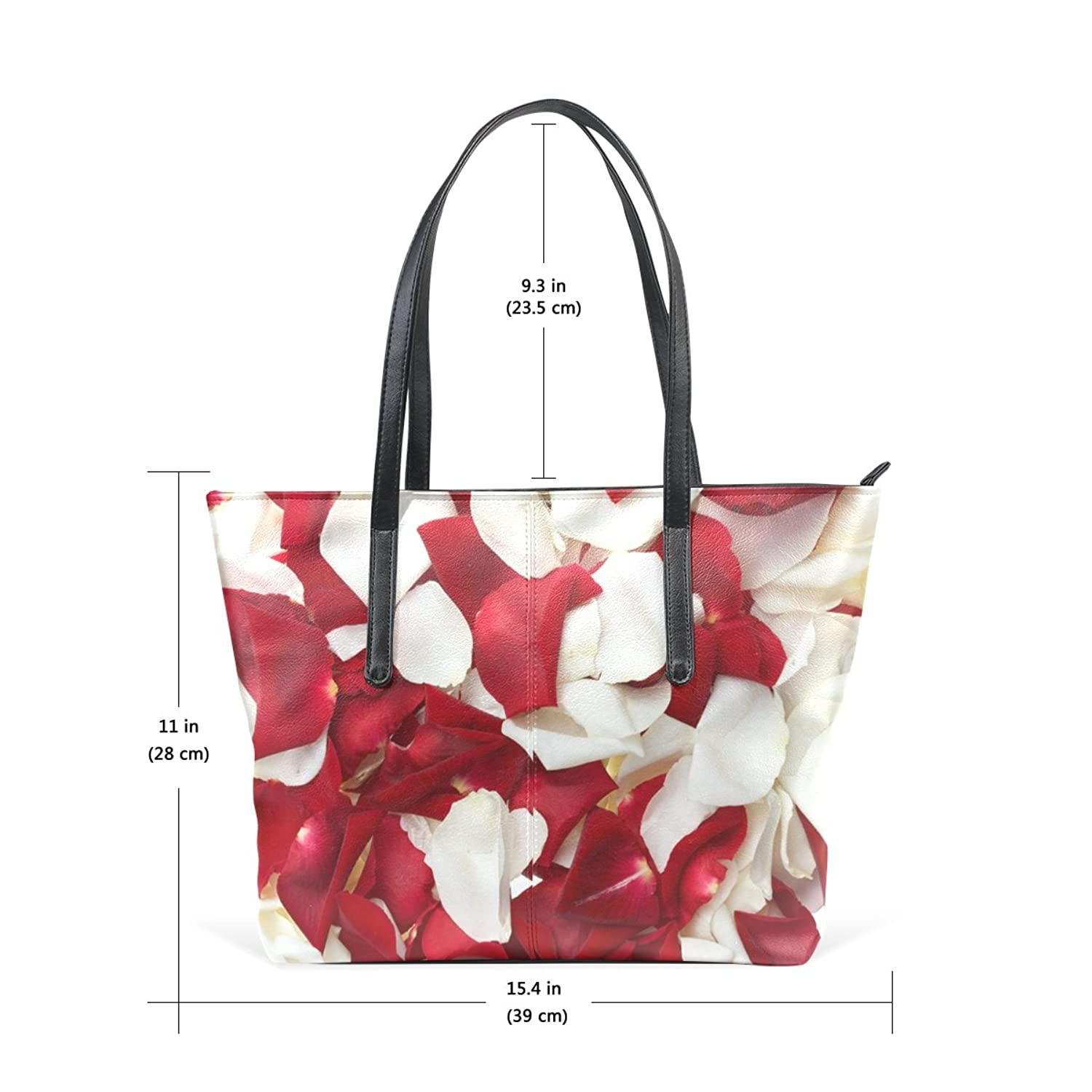 WOOR Valentine's Day Red And White Rose Women's Soft Leather Zipper Closure Large Handbags Tote Shoulder Bags