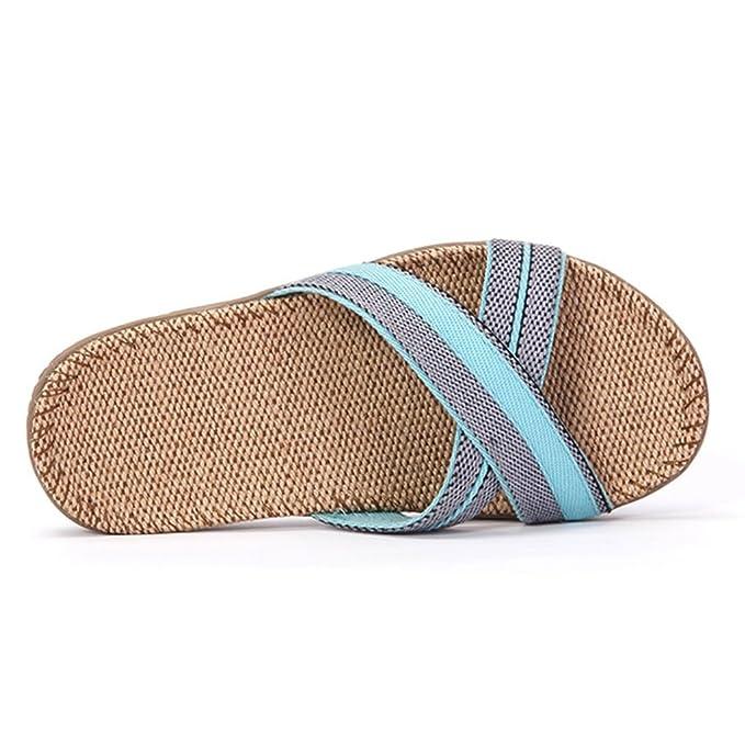 WeiLuShop Leinen Hausschuhe Herren Plateauschuhe Outdoor Schuhe Luxus Leinen Strand Sandalen (Color : Blue Size...