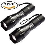 Elekin Flashlight 1000 Lumens T6 LED Flashlight [2 PACK] Aircraft-Grade Aluminum Pocket-Sized LED Torch, 5 Mode Adjustable Focus Zoom, High/Middle/Low/Slow Strobe for Indoor & Outdoor