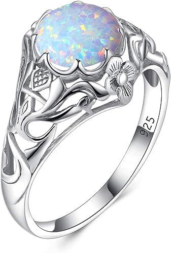 8 Nuevo elegante 925 Sterling-anillo de plata con fuego blanco-Opal talla 6 7