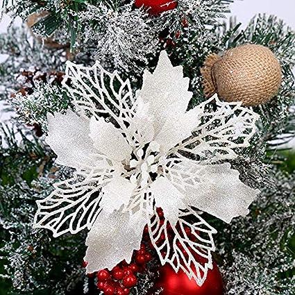 12X Christmas Large Poinsettia Glitter Flower Tree Hanging Party Xmas Decor UK