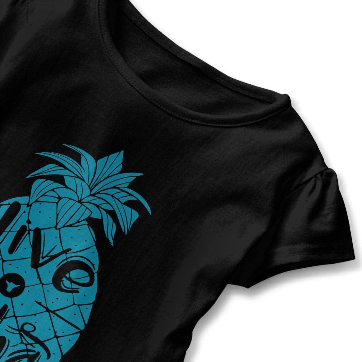 Fashion Tunic Shirt Dress with Falbala Short Sleeve Live Aloha Pineapple Shirts for Kids 2-6T