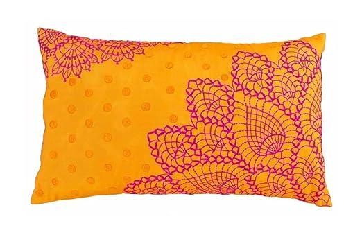 VLiving Patrón de ganchillo bordado almohada naranja y rosa ...