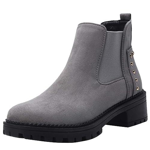 AIYOUMEI - Botines Chelsea de Terciopelo Mujer, Color Negro, Talla 39.5 EU: Amazon.es: Zapatos y complementos