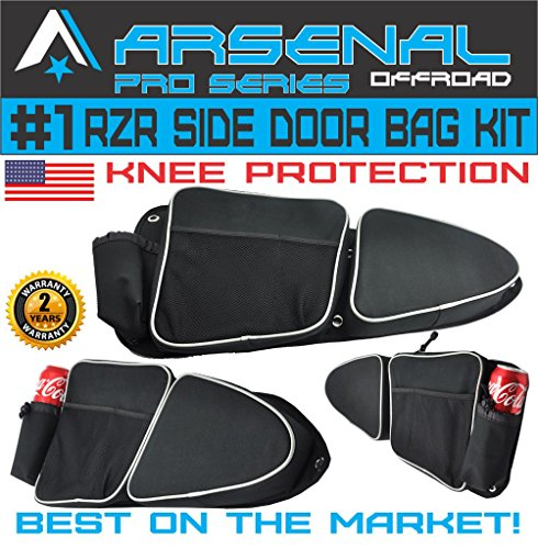 (Arsenal Pro RZR Door Bags for Polaris RZR XP 1000 Turbo XP4 900XC S900, Off road Side Storage Door Bags with Knee Pad Protection (1 Pair))
