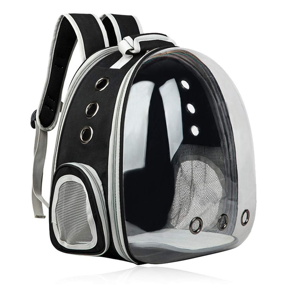 Black WeeLion Transparent pet backpack cat puppy, small medium dog baby carrier portable bubble backpack,Black