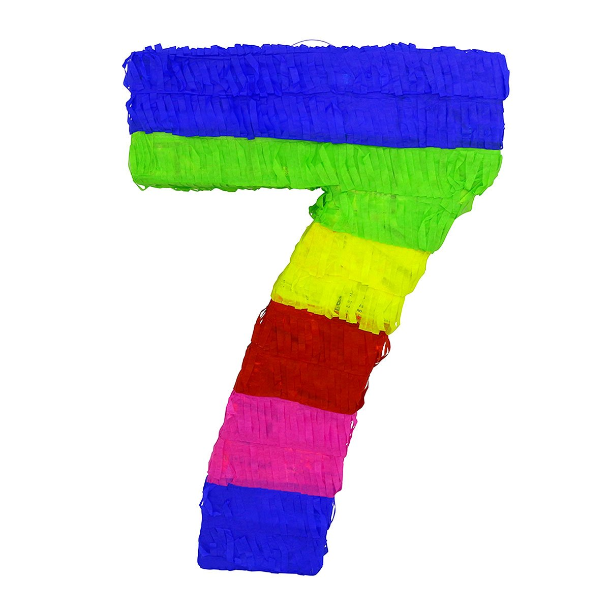 LYTIO - Multicolor Paper 3D Number Seven Pinata (Piñata) – Great for Any Party, Décor, Photo Prop