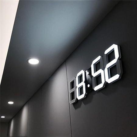 Aolvo Reloj despertador digital LED para escritorio / estante / mesa, mesa LED digital moderna Reloj despertador reloj de pared nocturna 24 o 12 horas: ...